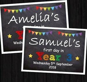 FIRST DAY OF SCHOOL * BACK TO SCHOOL PERSONALISED PRINT PHOTO PROP A5 & A4 SIZEE