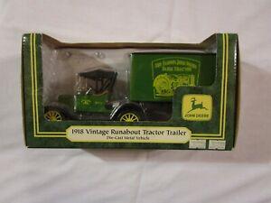 Ertl 1918 John Deere Ford Vintage Runabout Tractor Trailer die-cast Metal Truck