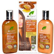 Dr Organic Moroccan Argan Oil Shampoo, Conditioner & Hair Treatment Serum Pack