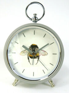 Alarm Clock Bumble Bee design Grey Metal with glass front and Grey Numbers and d