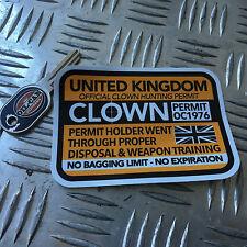 Permiso de caza de payaso Reino Unido 110 X 80mm