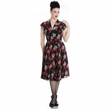 Hell Bunny Rayna Black Floral 1940s Retro Vintage Wartime WW2 Victory Tea Dress