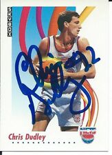 Signed 1991-92 Sky Box Chris Dudley New Jersey Nets Basketball card #181 w/COA