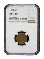 1872 1C Indian Head Cent Penny NGC XF45 BN Extra Fine EF Certified Key Date 8002