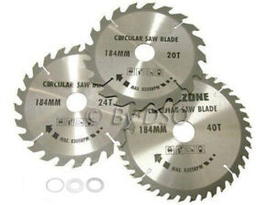 3PC 184MM TCT CIRCULAR SAW BLADES 20, 24 & 40 TEETH WITH ADAPTER O RINGS 185MM
