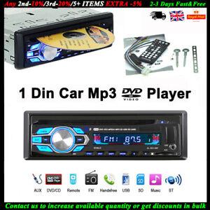 Single 1 Din Car DVD CD MP3 Player In-dash USB/AUX/TF FM Radio Bluetooth Stereo