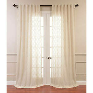 Saida Natural Embroidered Faux Linen Sheer Curtain (1 Panel)