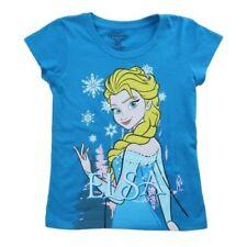 Camiseta de niña de 2 a 16 años azul 100% algodón
