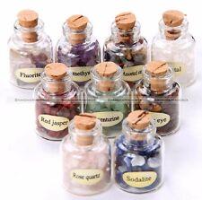 9 Mini Gemstone Bottles Chip Crystal Healing Tumbled Gem Reiki Wicca Stones