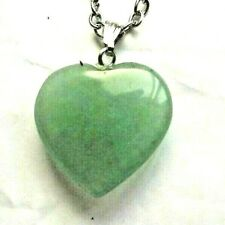 Natural Jewellery Healing Heart Green Aventurine Pendant Necklace Chain