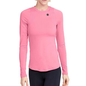 Under Armour Womens Rush Top Lipstick Pink Fitted Long Sleeved Sports Training
