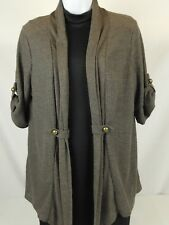 New Carolyn Taylor Size Large Cardigan Sweater Duster Knit Brown Open Front