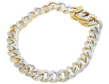 Mens 10k Yellow Gold Iced out Miami Cuban Link Diamond Chain Bracelet 8.5