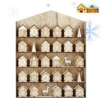 AU Wooden Christmas Advent Calendar Elk House Fit 25 Chocolates Stand Rack Decor