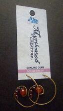 Myrtlewood's Handmade -  Carnelian & Garnet WIRE-WRAP EARRINGS - Solid Brass