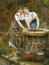 24 x 32 Art Two Girls Countryside Mural Ceramic Backsplash Bath 8 x 8 Tile #2106