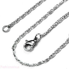 "Fashion Women's 22"" Long  Silver Stainless Steel Wave Link Unisex Chain Necklace"