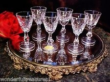 6 CUT Crystal Glass Wine Cordial Shot Glasses RING Stem Vntg U.S. ZONE GERMANY!