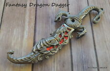 10 INCH OVERALL RED INLAY FANTASY DRAGON DAGGER WITH SHEATH BLADE KNIFE SWORD