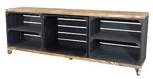 Edler TV Schrank aus Holz mit 5 Fächern, 150x53x30cm Weinkisten Paletten