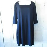 Travelsmith Dress M Medium Navy Blue Square Neck Packable 3/4 Elbow Sleeve