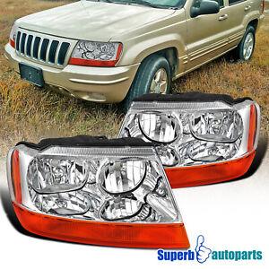 For 1999-2004 Jeep Grand Cherokee Headlights Headlamps Turn Signal Lights 99-04