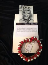Phyllis Diller Owned Red Gold White Beaded Choker Necklace Comedienne Jewelry