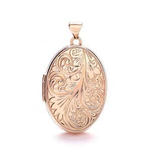9ct Rose Gold Patterned Oval Locket