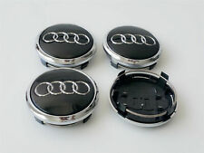 4x77mm Audi Black Wheel Center Caps Hubcaps Emblems Rim Caps Badges 4L0601170