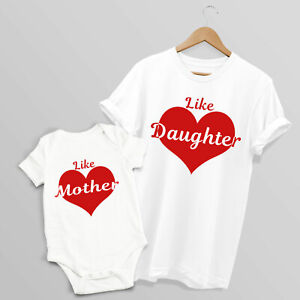 Like Mother Like Daughter Matching T-shirt & Baby Grow Set, S-2XL & 0-18 months