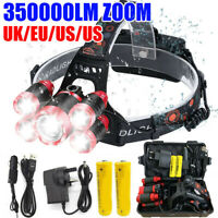 350000LM T6 LED Head Torch Light Headlamp Flashlight Set Waterproof Rechargeable