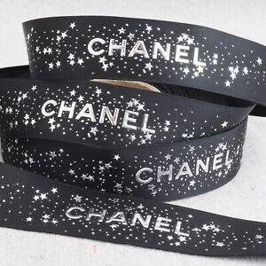 "Chanel Glittery Silver Stars Black Satin Gift Wrap Craft Ribbon 1 Yard / 36"""