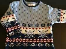 "New b.t. Kids BLUE WHITE RED CREWNECK ""SNOWFLAKE"" Sweater Size 18 Months"