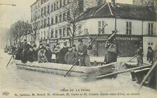CP PARIS CRUE DE LA SEINE FALLIERES BRIAND MILLERAND LEPINE COUTANT EN CHALAND