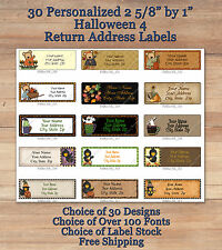 Colourful Whimsical 30 Custom HALLOWEEN FALL Address Labels 4 Kids Crows
