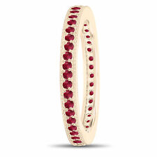 Red Rubies Eternity Wedding Band Eternity Ring 14k Yellow Gold 0.50 Carat Pave