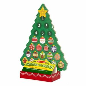 Melissa & Doug Countdown to Christmas Wooden Advent Calendar Magnetic Tree 25