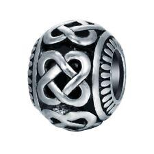 10pcs Silver Tone Knot Pattern Beads Fit European Charm Bracelets Jewelry Making