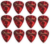 FENDER  Premium Celluloid Plectrums - Pack of 12 picks  -  Red - Thin.