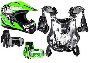 Youth Kids Chest Protector Helmet Green Gloves Goggles Child Combo DOT ATV