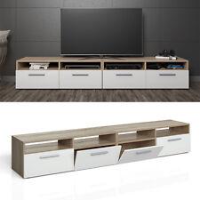 Meuble bas TV Armoire Table pour téléviseur Étagère Rack Sonoma Blanc 2-er