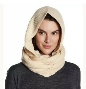 Free People Taupe Knitted Ribbed Hooded Infinity Headscarf New