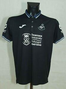 Swansea City Joma Training Football Polo Shirt Black SIZE M VGC //
