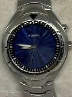 Fossil AM3537 Men's Silver Stainless Steel Analog Dial Quartz Genuine Watch Ee69