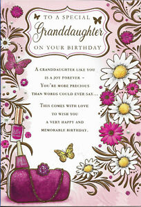 """GRANDDAUGHTER BIRTHDAY GREETING CARD 7""""X5"""" VERY SPECIAL VERSE FREE P&P"""