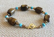 Tiger's Eye Stone & Blue Faceted Beads Pat. 2007 Snap Clasp Bracelet Jewelry