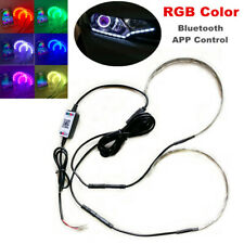 RGB Color Car LED Demon Eye Bluetooth APP Control Halo Ring Headlight Projector