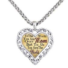 Mom You Are The World To Us Silver Chain Necklace Heart Jewelry Mother Gift