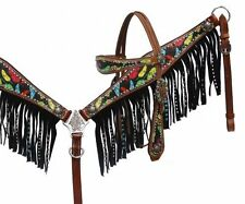 BLING! WESTERN SADDLE HORSE BROWN LEATHER BRIDLE BREAST COLLAR PLATE W/ FRINGE