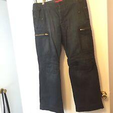 FCUK French Connection Dark Denim Cargo Jeans Men's 36 X 32